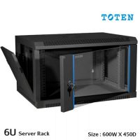 TOTEN 6U Wall Mount Server Cabinet (Glass Door)