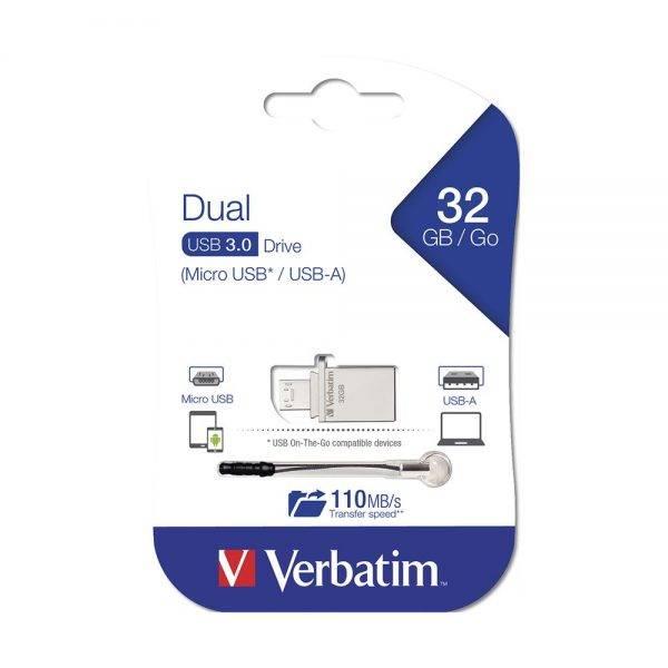 Verbatim OTG Type C USB 3.1 Drive 32GB 49826 packaging flat min