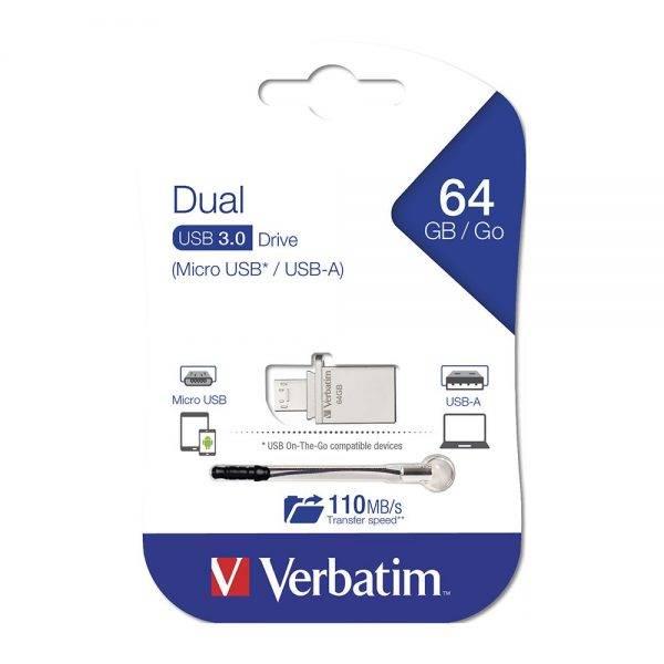 Verbatim 49827 Store'n'Go OTG Micro USB 3.0 Drive 64GB 49827 packaging flat min