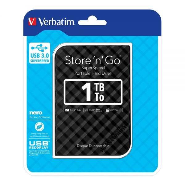 Verbatim 53194 Store 'n' Go 2.5 1TB Black GEN 2 USB 3.0 53194 flat min