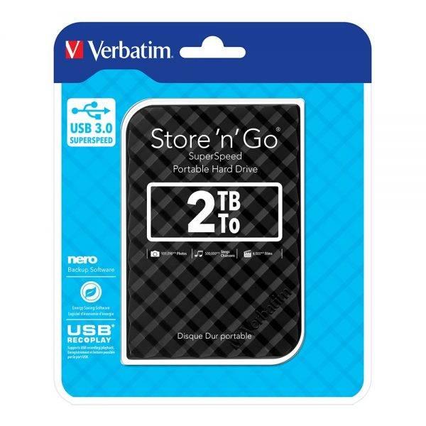 Verbatim 53195 Store n Go 2,5 2TB USB 3.0 BLACK Gen 2 53195 flat min