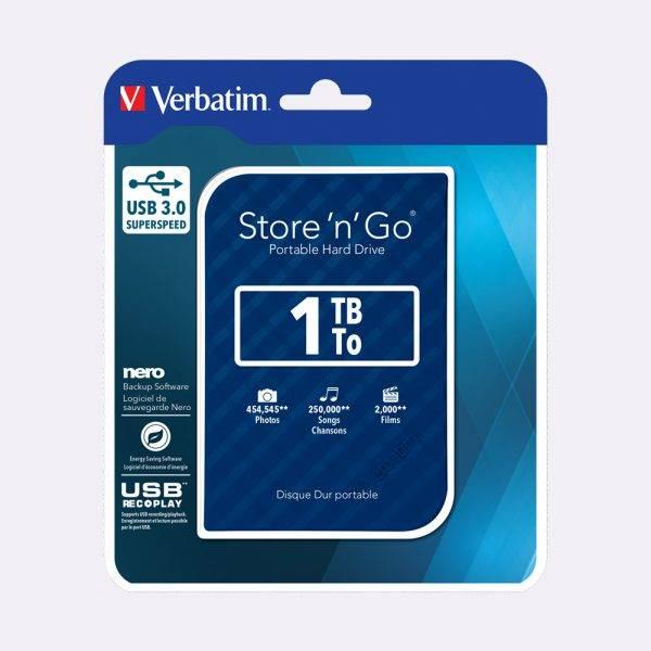 Verbatim 53200 2.5' Port HDD Hard Disc Drive 1Tb Blue 53200 Packaging Flat