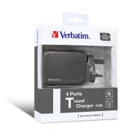 Verbatim 4 Ports Travel Charger Grey