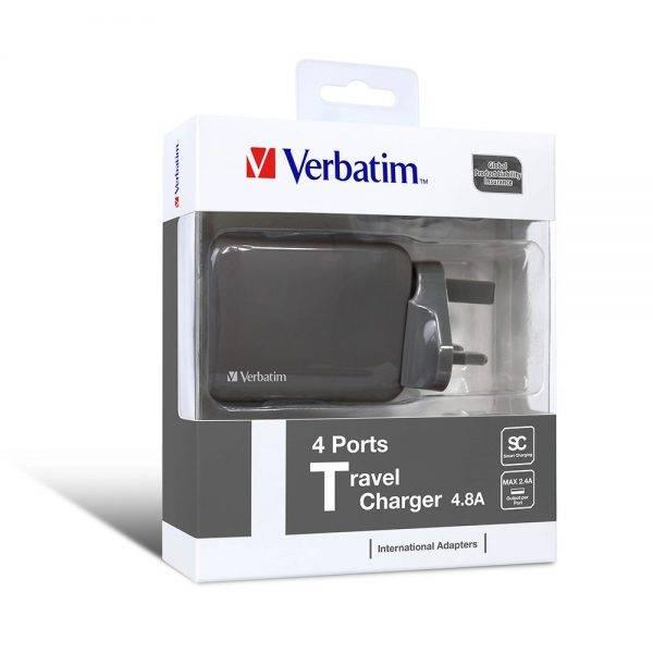 Verbatim 4 Ports Travel Charger Grey