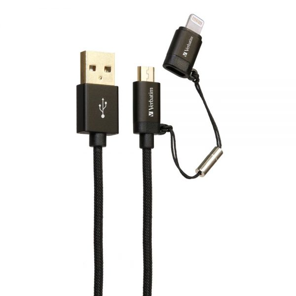 Verbatim 65362 120cm Sync & Charge 2 in 1 Micro USB and Lightning Cable Black 65362 b min