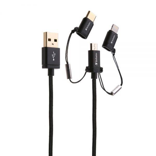 Verbatim 65385 120cm 3-in-1 microUSB / Lightning / Type C to USB-A Cable - Black 65385 b min