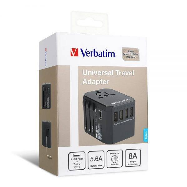 Vrebatim 65686 5 Ports Travel Adapter - Black 65686 box min