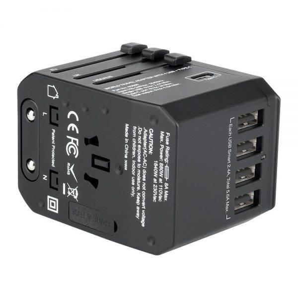 Vrebatim 65686 5 Ports Travel Adapter - Black 65686 e min