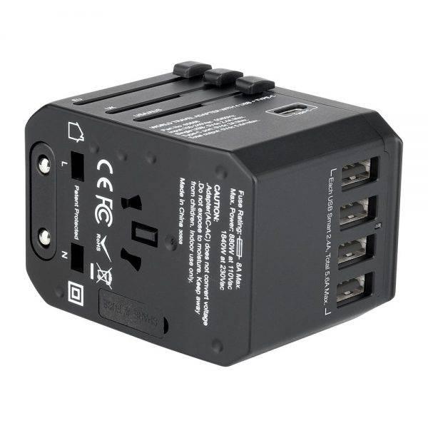 Vrebatim 65686 5 Ports Travel Adapter - Black 65686 f min