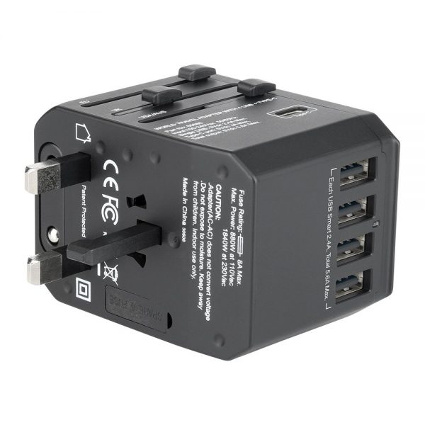Vrebatim 65686 5 Ports Travel Adapter - Black 65686 g min
