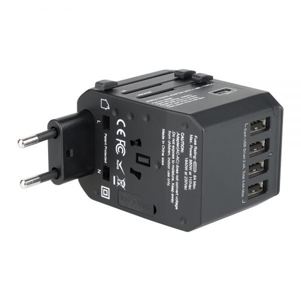 Vrebatim 65686 5 Ports Travel Adapter - Black 65686 h min