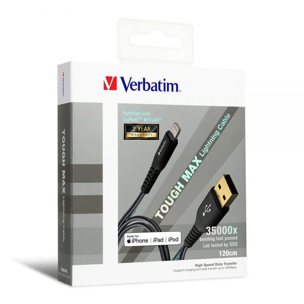 Verbatim 65857 120cm Sync & Charge Tough Max Lightning Cable - Black
