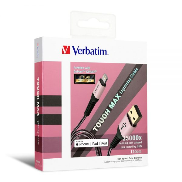 Verbatim 65858 120cm Sync & Charge Tough Max Lightning Cable - Rose Gold