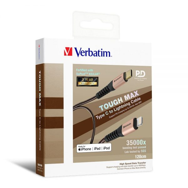 Verbatim 66049 Sync & Charge Tough Max Type C to Lightning Cable - Gold 66049