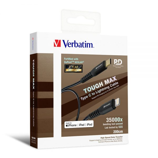 Verbatim 66051 Sync & Charge Tough Max Type C to Lightning Cable - Black 66051