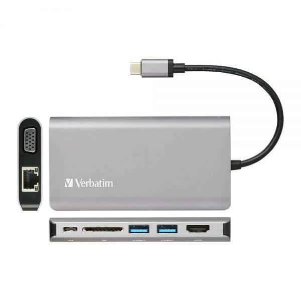 Verbatim 66148 8in1 Type C Hub With 60 Watt 66148 a min