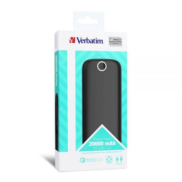 Verbatim 66168 Power Bank Power Pack 20000 mAh PD+QC3.0 Black 66168 power pack 20000 mah pd qc 3.0 black box min