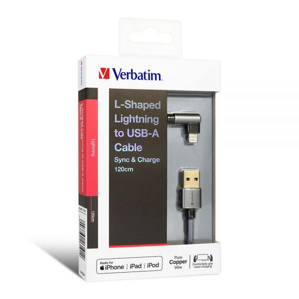 Verbatim 66191 Lightning Cable L-Shaped 120cm Grey