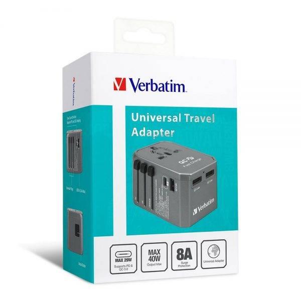 Verbatim 66198 4 Ports QC/PD Travel Adapter - Grey 66198 box min