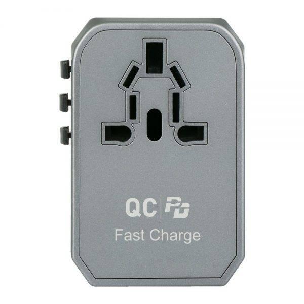 Verbatim 66198 4 Ports QC/PD Travel Adapter - Grey 66198 a min