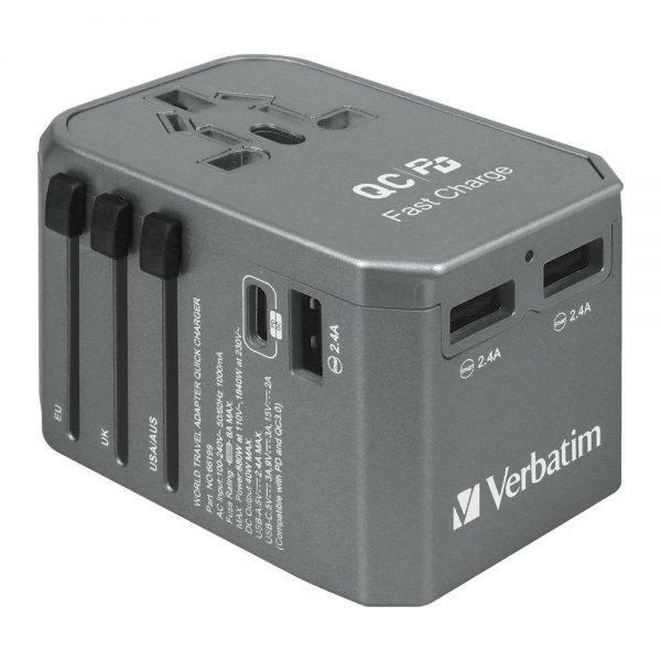 Verbatim 66198 4 Ports QC/PD Travel Adapter - Grey 66198 b min