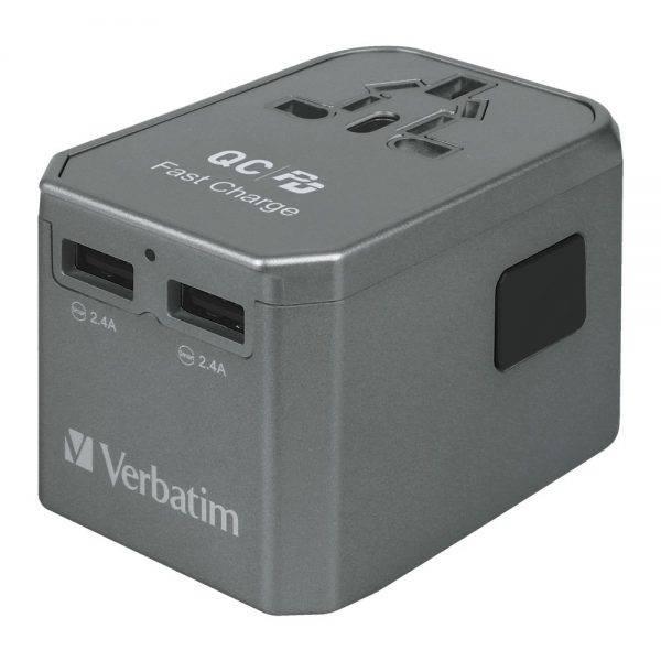 Verbatim 66198 4 Ports QC/PD Travel Adapter - Grey 66198 c min