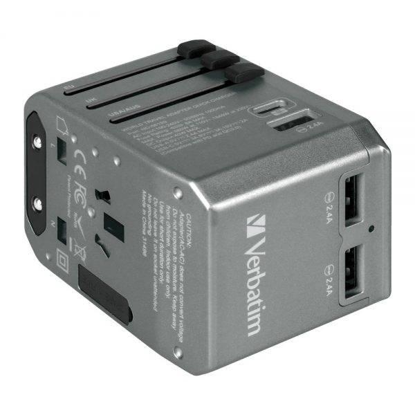 Verbatim 66198 4 Ports QC/PD Travel Adapter - Grey 66198 e min