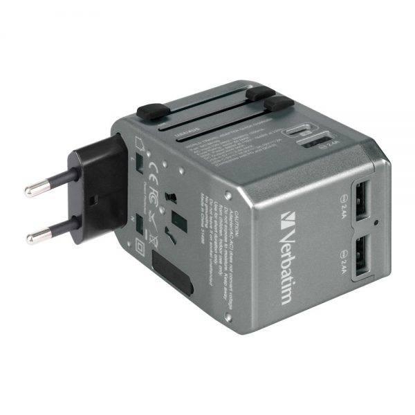 Verbatim 66198 4 Ports QC/PD Travel Adapter - Grey 66198 f min