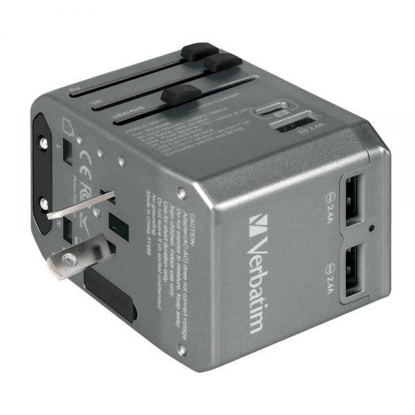 Verbatim 66198 4 Ports QC/PD Travel Adapter - Grey 66198 g min