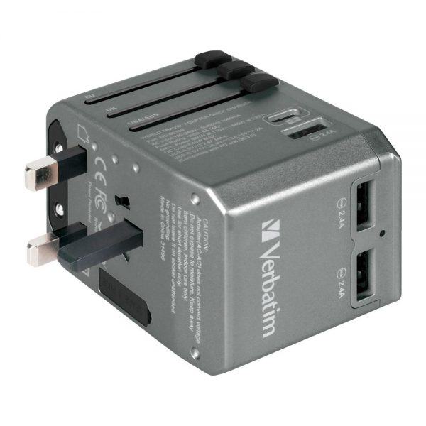 Verbatim 66198 4 Ports QC/PD Travel Adapter - Grey 66198 h min