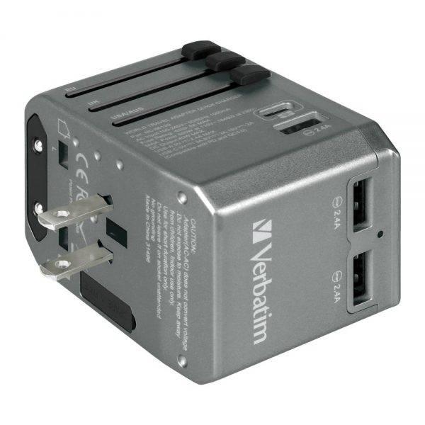 Verbatim 66198 4 Ports QC/PD Travel Adapter - Grey 66198 i min