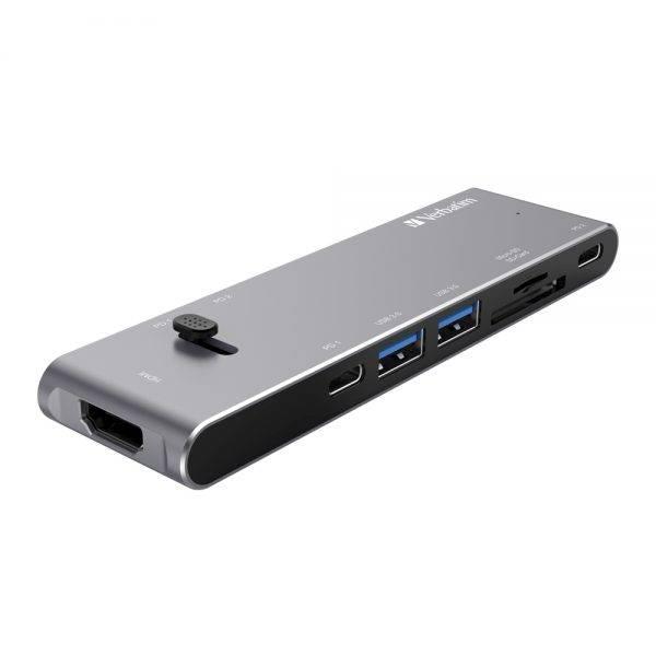 Verbatim 66317 Type C Hub Dual C (Retractable) with HDMI, Type Cx2, USB 3.0x2, SD, MicroSD