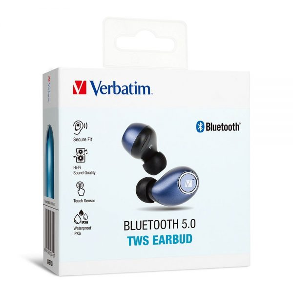 Verbatim 66349  Earbuds Bluetooth 5.0 TWS - Blue 66349 box 1 min