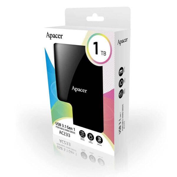 Apacer USB 3.1 Gen 1 AP1TBAC233B-S Portable Hard Drive 1TB Black Color box AC233 E